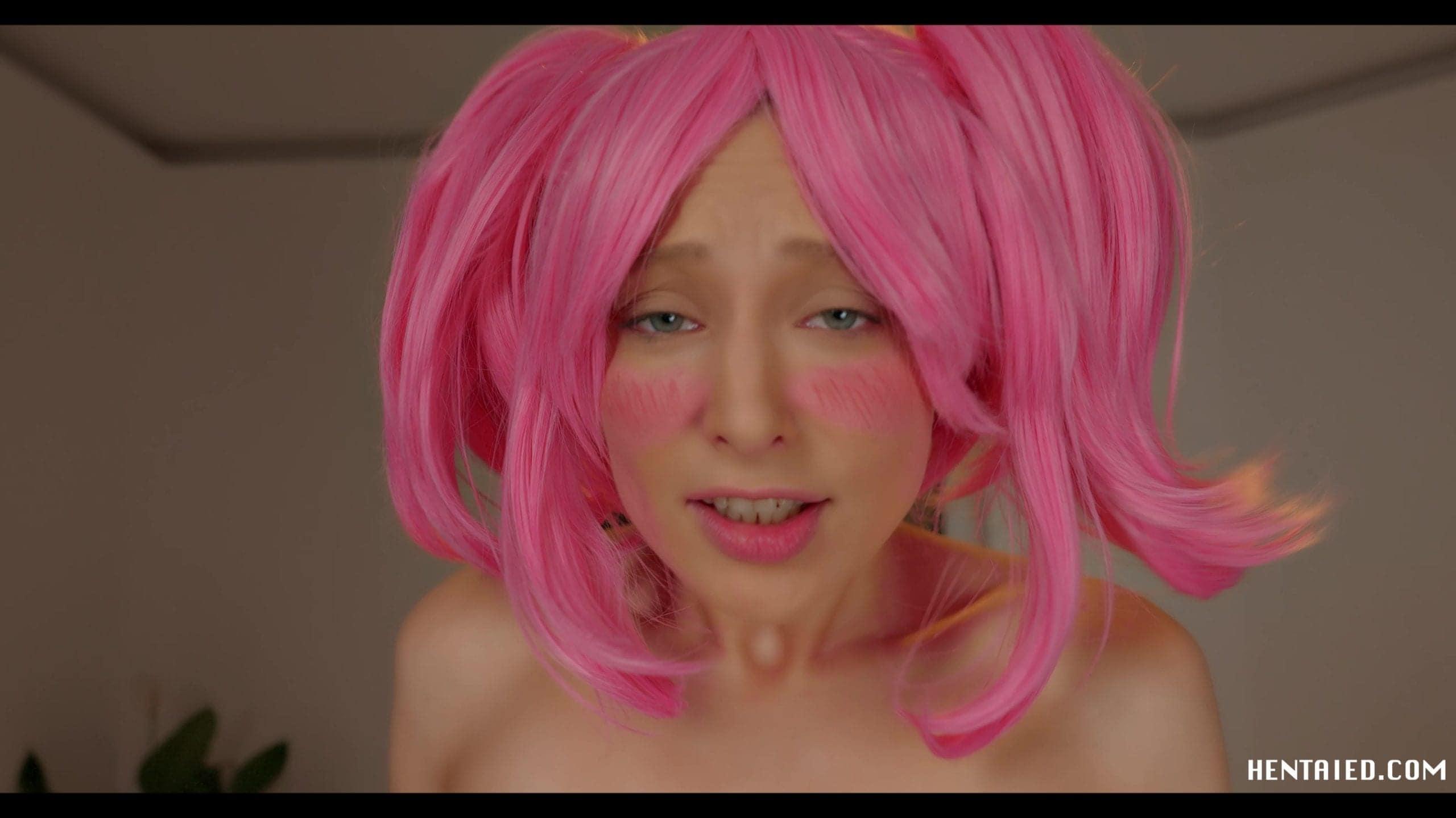 Talia Mint cosplay pornstar doing ahegao
