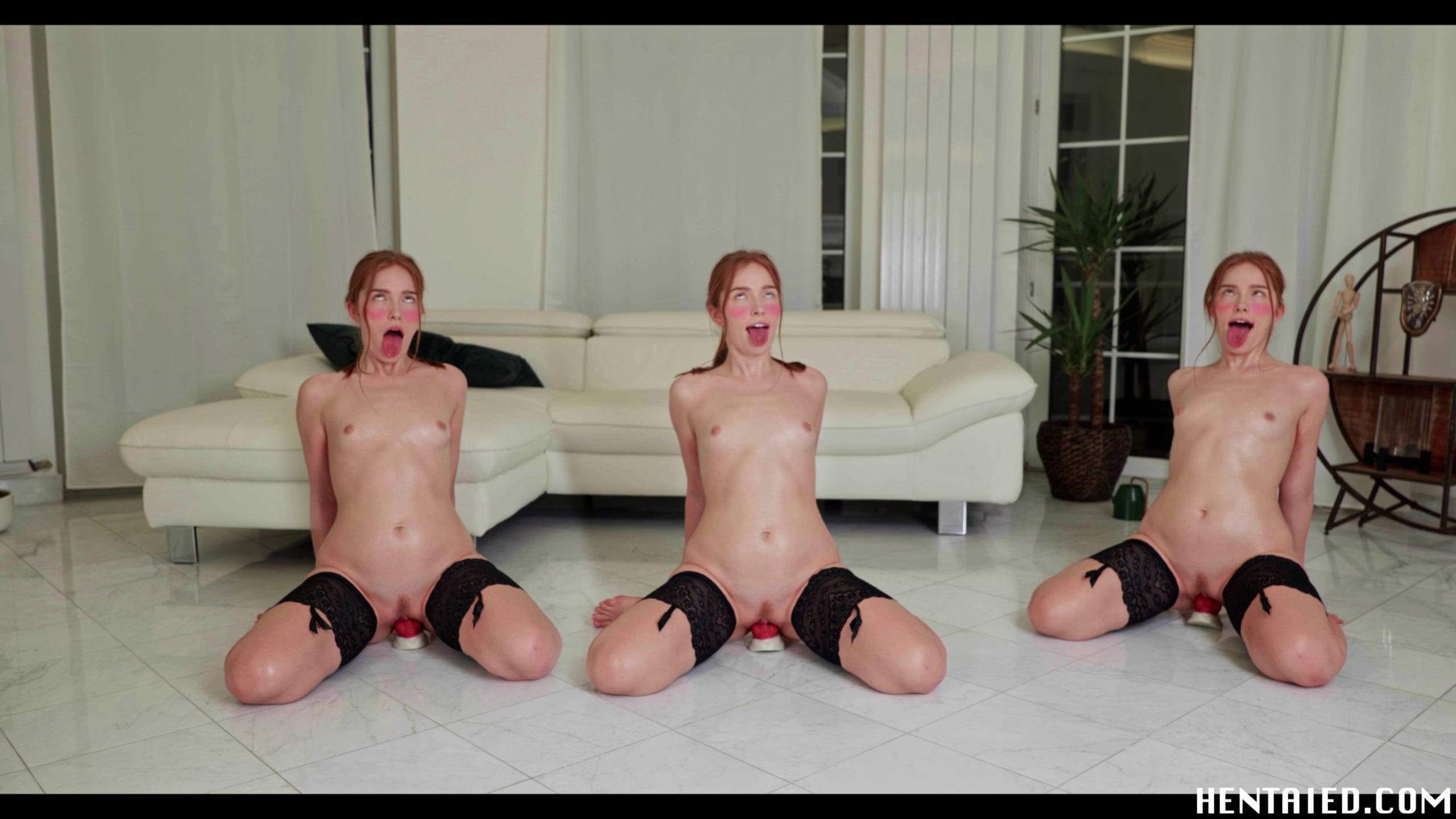 Ahegao Jia Lissa twins riding dildos