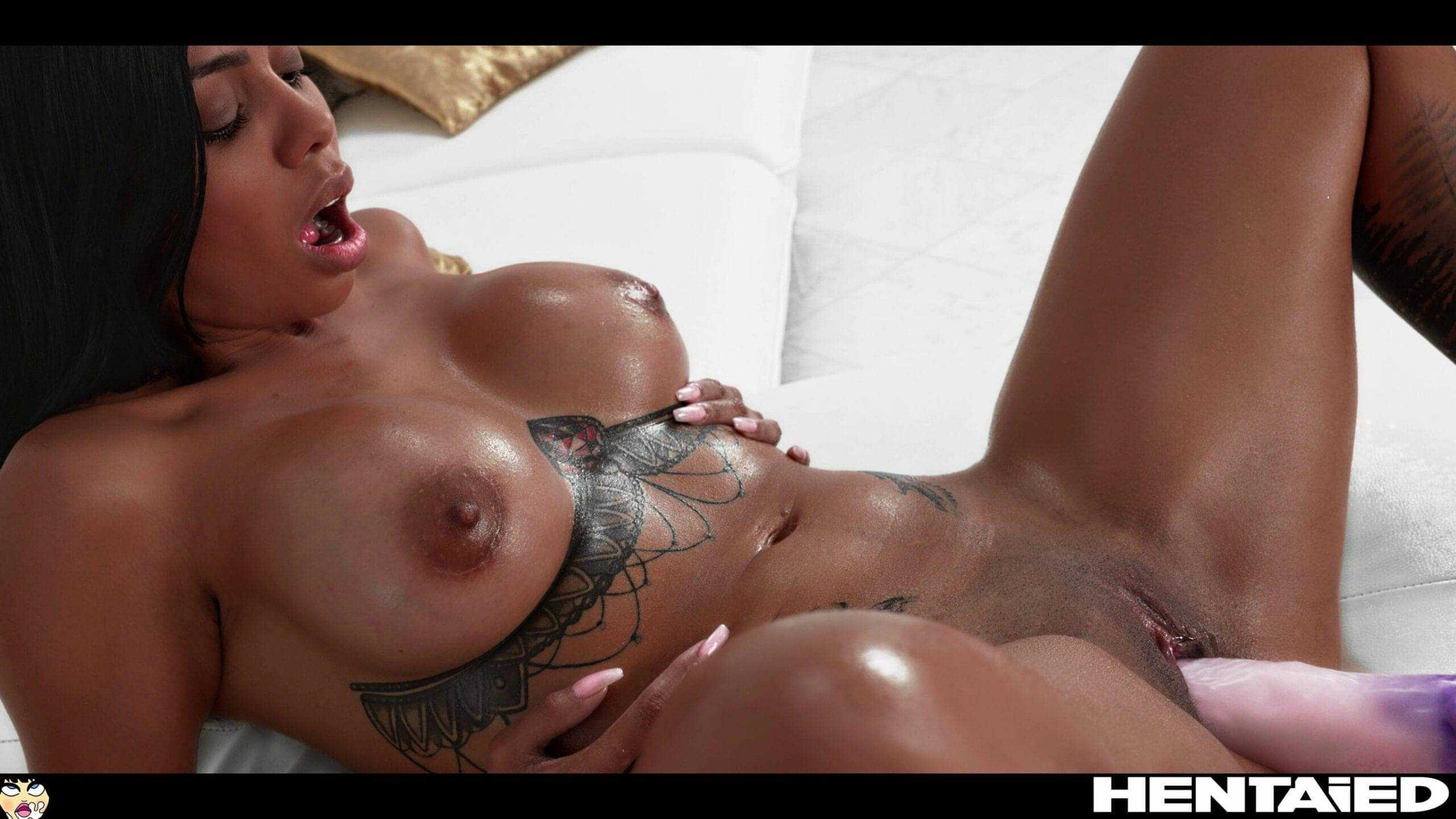 Canela Skin pornstar orgasm on pink dildo